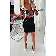 فستان نسائي ثوب ضيق أساسي طباعة طول الركبة لون سادة