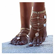 ieftine -Brățară Gleznă Sandale Desculț femei Personalizat Design Unic Pentru femei Bijuterii de corp Pentru Cadouri de Crăciun Zilnic Multistratificat stivuibil Argintiu Aliaj Glod Argintiu 1 buc