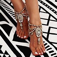 ieftine -Sandale Desculț picioare bijuterii femei Boho Boem Pentru femei Bijuterii de corp Pentru Zilnic Casual Franjuri High Crystal Ștras Aliaj Floare Auriu Argintiu