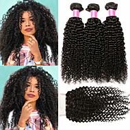 cheap -3 Bundles with Closure Brazilian Hair Kinky Curly Human Hair Unprocessed Human Hair Headpiece Natural Color Hair Weaves / Hair Bulk Extension 8-20 inch Natural Color Human Hair Weaves Sexy Lady Hot