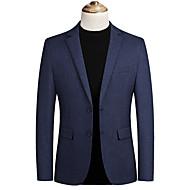billige -Herre Blazer, Ensfarget Hakkjakkeslag Polyester Blå / Grå