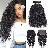 cheap -3 Bundles with Closure Brazilian Hair Water Wave Unprocessed Human Hair 100% Remy Hair Weave Bundles Headpiece Natural Color Hair Weaves / Hair Bulk Extension 8-20 inch Natural Color Human Hair Weaves