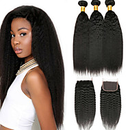 cheap -3 Bundles with Closure Brazilian Hair kinky Straight Virgin Human Hair 100% Remy Hair Weave Bundles Headpiece Natural Color Hair Weaves / Hair Bulk Extension 8-20 inch Natural Color Human Hair Weaves