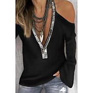 Majica s rukavima Žene Dnevno Jednobojni Crn