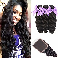 cheap -3 Bundles with Closure Brazilian Hair Loose Wave Virgin Human Hair 100% Remy Hair Weave Bundles Natural Color Hair Weaves / Hair Bulk Extension Bundle Hair 8-20 inch Natural Color Human Hair Weaves