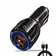 cheap -30 W Car Charger USB Charger EU Plug with Cable / QC 3.0 / Charger Kit 2 USB Ports 3.1 A DC 12V for iPhone 11 / iPhone 11 Pro / iPhone 11 Pro Max