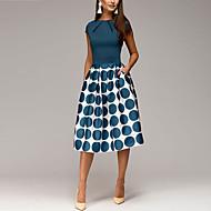 povoljno -Žene Izlasci 1950-te Elegantno A kroj Korice Swing kroj Haljina - Naborano Kolaž Print, Na točkice Geometrijski oblici Print Do koljena