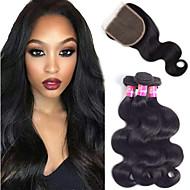 cheap -3 Bundles with Closure Brazilian Hair Body Wave Virgin Human Hair Unprocessed Human Hair Headpiece Natural Color Hair Weaves / Hair Bulk Extension 8-20 inch Natural Color Human Hair Weaves Odor Free