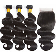 cheap -3 Bundles with Closure Malaysian Hair Body Wave Virgin Human Hair Unprocessed Human Hair Natural Color Hair Weaves / Hair Bulk Extension Bundle Hair 8-20 inch Natural Color Human Hair Weaves Odor