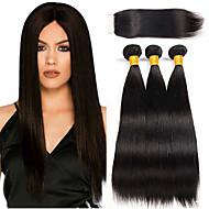 cheap -3 Bundles with Closure Brazilian Hair Straight Human Hair 100% Remy Hair Weave Bundles Headpiece Natural Color Hair Weaves / Hair Bulk Extension 8-20 inch Natural Color Human Hair Weaves Odor Free