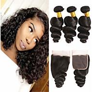 povoljno -3 paketi s zatvaranjem Brazilska kosa Valovita kosa Virgin kosa 100% Remy kose tkanja Bundle Headpiece Ljudske kose plete Produžetak 8-20 inch Prirodna boja Isprepliće ljudske kose Odor Free Klasični