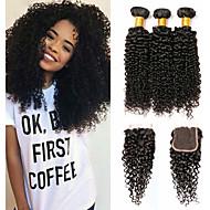 povoljno -3 paketi s zatvaranjem Brazilska kosa Kinky Curly Ljudska kosa Netretirana  ljudske kose Headpiece Ljudske kose plete Produžetak 8-20 inch Prirodna boja Isprepliće ljudske kose Rasprodaja Gust