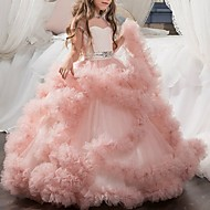 cheap -Ball Gown Floor Length Flower Girl Dress - Tulle Cap Sleeve Jewel Neck with Appliques / Bow(s) / Crystals / Rhinestones