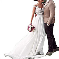 cheap -A-Line V Neck Sweep / Brush Train Chiffon / Lace Cap Sleeve Made-To-Measure Wedding Dresses with Lace Insert 2020