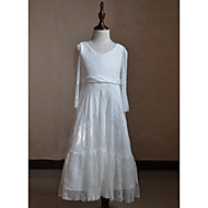 cheap -A-Line Floor Length Flower Girl Dress - Lace Long Sleeve Jewel Neck with Lace