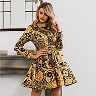 billige -Dame Vintage Stil Sofistikert A-linje Kjole - Trykt mønster, Flettet Trykt mønster Ovenfor knéet