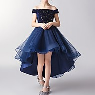 cheap -A-Line Asymmetrical Flower Girl Dress - Tulle Short Sleeve Off Shoulder with Pattern / Print