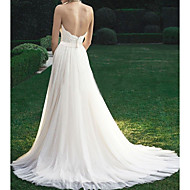 cheap -A-Line Strapless Sweep / Brush Train Tulle Regular Straps Made-To-Measure Wedding Dresses with Appliques 2020