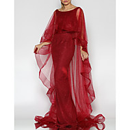 cheap -Mermaid / Trumpet Boat Neck Sweep / Brush Train Tulle Elegant Formal Evening Dress 2020 with Ruffles