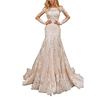 cheap -Mermaid / Trumpet Off Shoulder Court Train Lace Long Sleeve Made-To-Measure Wedding Dresses with Lace Insert 2020
