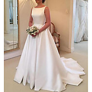cheap -A-Line Jewel Neck Sweep / Brush Train Stretch Satin Regular Straps Made-To-Measure Wedding Dresses with Draping 2020