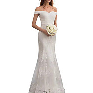 cheap -Sheath / Column Off Shoulder Floor Length Lace Regular Straps Made-To-Measure Wedding Dresses with Beading / Appliques / Lace Insert 2020