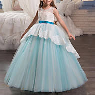 cheap -A-Line Floor Length Flower Girl Dress - Tulle Sleeveless Jewel Neck with Bow(s) / Lace