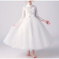 cheap -A-Line Ankle Length Flower Girl Dress - Tulle 3/4 Length Sleeve High Neck with Beading / Appliques / Bow(s)