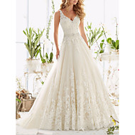 cheap -A-Line V Neck Sweep / Brush Train Tulle Regular Straps Made-To-Measure Wedding Dresses with Appliques 2020