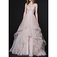 cheap -A-Line Spaghetti Strap Sweep / Brush Train Tulle Open Back Prom Dress 2020 with Sequin / Pleats
