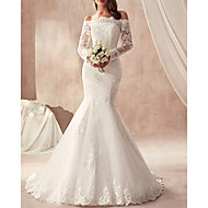 cheap -Mermaid / Trumpet Off Shoulder Sweep / Brush Train Tulle Regular Straps Made-To-Measure Wedding Dresses with Appliques 2020