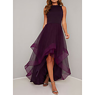 cheap -A-Line Jewel Neck Asymmetrical Polyester / Tulle Elegant Prom Dress 2020 with Pleats