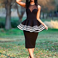 cheap -Sheath / Column Jewel Neck Tea Length Polyester Little Black Dress Cocktail Party / Holiday Dress 2020 with Ruffles