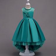 cheap -A-Line Asymmetrical Flower Girl Dress - Satin Sleeveless Jewel Neck with Beading / Appliques / Bow(s)