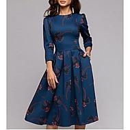 Women's Boho Swing Dress - Geometric Navy Blue S M L XL