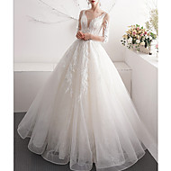 cheap -A-Line V Neck Sweep / Brush Train Tulle 3/4 Length Sleeve Made-To-Measure Wedding Dresses with Appliques 2020