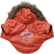 ieftine -Pisici Câine Haine Hanorace cu Glugă Tiare & Coroane Keep Warm În aer liber Iarnă Îmbrăcăminte Câini Respirabil Rosu Costume Bumbac XS S M L
