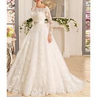 cheap -A-Line Off Shoulder Sweep / Brush Train Tulle Regular Straps Made-To-Measure Wedding Dresses with Appliques 2020