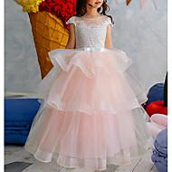 cheap -Ball Gown Floor Length Flower Girl Dress - Cotton Half Sleeve Jewel Neck with Bow(s) / Tier
