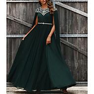 cheap -A-Line Jewel Neck Floor Length Chiffon Elegant Formal Evening Dress 2020 with Beading / Crystals / Sash / Ribbon