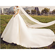 cheap -A-Line V Neck Sweep / Brush Train Stretch Satin Regular Straps Made-To-Measure Wedding Dresses with Draping 2020