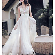 cheap -A-Line Jewel Neck Sweep / Brush Train Tulle Regular Straps Made-To-Measure Wedding Dresses with Appliques 2020
