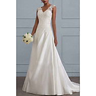 cheap -A-Line V Neck Sweep / Brush Train Chiffon Regular Straps Made-To-Measure Wedding Dresses with Draping 2020