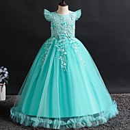 cheap -A-Line Floor Length Flower Girl Dress - Tulle Sleeveless Jewel Neck with Appliques / Bow(s) / Crystals