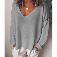 Majica s rukavima Žene Dnevno Jednobojni V izrez Širok kroj Crn