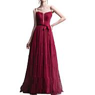 Χαμηλού Κόστους -Γραμμή Α Λουριά Μακρύ Πολυεστέρας Φόρεμα Παρανύμφων με Πλισέ