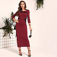 billige -Dame Vintage Stil Sofistikert Skiftet Kjole - Fargeblokk Maksi
