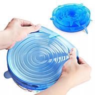 Χαμηλού Κόστους -6 καπάκια σιλικόνης stretch επαναχρησιμοποιήσιμα αεροστεγή συσκευασία καλύμματα τροφίμων διατηρώντας φρέσκο σφραγίδα μπολ ελαστικό περιτύλιγμα κάλυψη κουζίνα μαγειρικά σκεύη