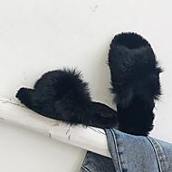 billige -Jente Komfort Fuskepels Tøfler og flip-flops Små barn (4-7år) Grønn / Brun / Svart Vår