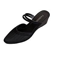 저렴한 -여성용 샌들 쐐기 뒤꿈치 신발 앞 막힘 PU 여름 아몬드 / 퍼플 / 블루